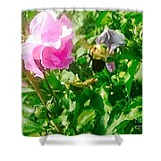 Bumble Bee In Mid Flight Shower Curtain
