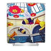 Bumble Bees And Poppies In Bellagio Conservatory In Las Vegas-nevada Shower Curtain