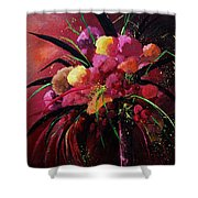 Bunch Of Red Flowers Shower Curtain by Pol Ledent