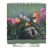 Bunnies In The Blooms Shower Curtain