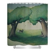 Bunnies Running Under Trees Shower Curtain