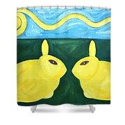 Bunnies Talking Shower Curtain