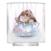 Bunny In Teacup Shower Curtain
