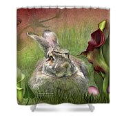 Bunny In The Lilies Shower Curtain