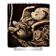 Bunny With Her Bunny - Sepia Shower Curtain