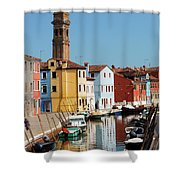 Burano An Island Of Multi Colored Homes On Canals North Of Venice Italy Shower Curtain