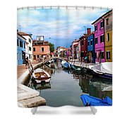 Burano Canal And Homes Shower Curtain