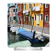Burano Corner With Laundry Shower Curtain