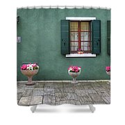 Burano Green Shower Curtain