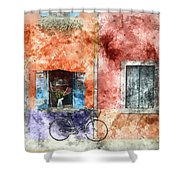 Burano Italy Digital Watercolor On Photograph Shower Curtain