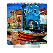 Burano Reflections Shower Curtain