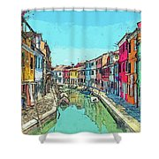 Burano Sketch Shower Curtain