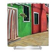 Burano Street Shower Curtain