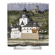 Burg Pfalzgrafenstein And Burg Gutenfals Squared Shower Curtain