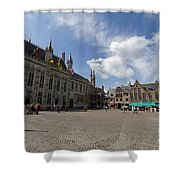 Burg Square In Bruges Belgium Shower Curtain