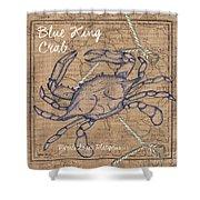 Burlap Blue Crab Shower Curtain