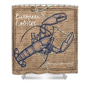 Burlap Lobster Shower Curtain