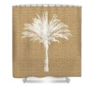 Burlap Palm Tree- Art By Linda Woods Shower Curtain