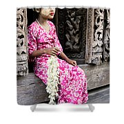Burmese Flower Vendor Shower Curtain