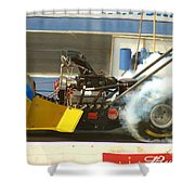 Burn Out On The Track Shower Curtain
