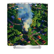 Burnin Down The House Aerial Single Family Home On Fire  Shower Curtain