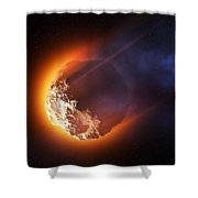 Burning Asteroid Entering The Atmoshere Shower Curtain