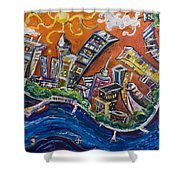 Burning City Shower Curtain