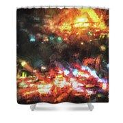 City Of Burning Lights Shower Curtain