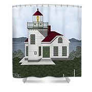 Burrows Island Lighthouse Shower Curtain