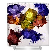 Bursting Comets 2017 - Yellow And Purple On White Shower Curtain