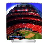 Busch Stadium A Zoomed View From The Arch Merged Image Shower Curtain