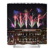 Busch Stadium Shower Curtain by Andrea Silies