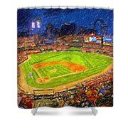 Busch Stadium At Night Rocks Shower Curtain
