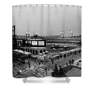 Busch Stadium From The East Garage Black And White Shower Curtain