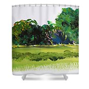 Bushes - English Devon Countryside Shower Curtain