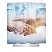 Business Handshake Over Modern Skyscrapers, Double Exposure. Shower Curtain