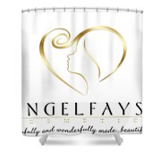 Gold And White Angelfayss Shower Curtain