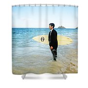 Business Man At The Beach With Surfboard Shower Curtain