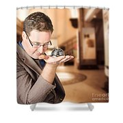 Business Man With Service Bell. Consumer Advice Shower Curtain