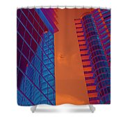 Business Travel, Architectural Abstract Shower Curtain