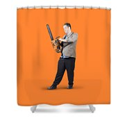 Businessman Holding Portable Chainsaw Shower Curtain