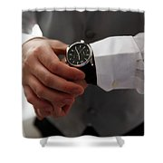 Businessman Looking At His Watch In Office Shower Curtain