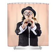 Businessman Looking For Discovery With Telescope Shower Curtain