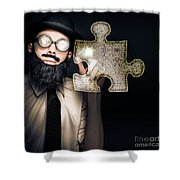 Businessman Puzzle Solving With Digital Solutions Shower Curtain