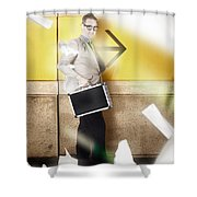Businessman Walking In Direction Of Road Arrow Shower Curtain