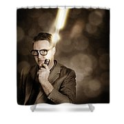 Businessman With Bright Solution Idea Shower Curtain
