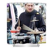 Busking Drummer Shower Curtain