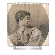 Bust Of A Boy In Profile Holding A Sword Shower Curtain