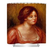 Bust Of A Woman In A Red Blouse Shower Curtain