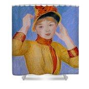 Bust Of A Woman Yellow Dress Shower Curtain